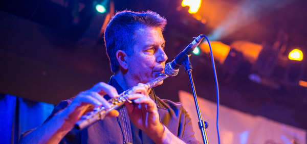 Blowing some flute at the Belly up